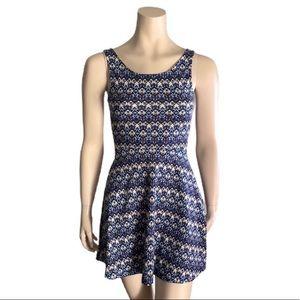 H&M Blue/Orange/White Patterned Dress
